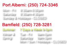 The store hours of Breaker's Marine